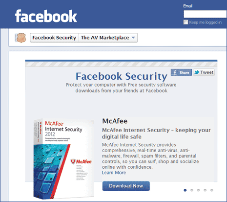 Facebook anti virus market place